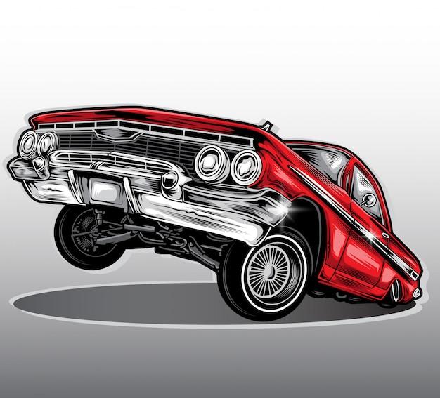 Vettore di auto lowrider Vettore Premium