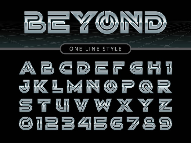 Vettore di carattere arrotondato stilizzato e alfabeto Vettore Premium