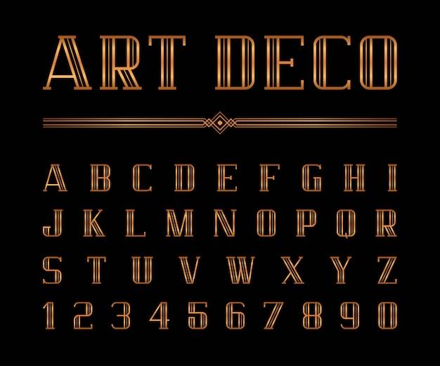 Vettore di carattere art deco e alfabeto Vettore Premium
