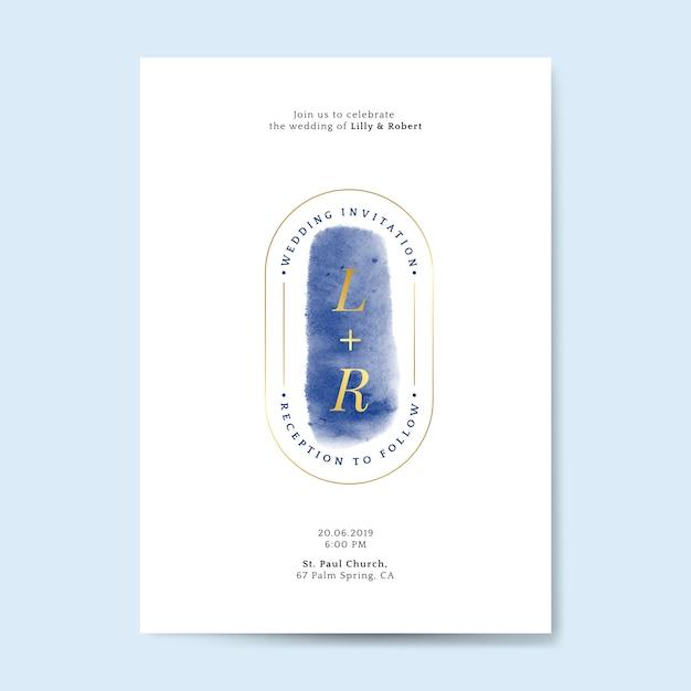 Vettore di carta di invito matrimonio blu Vettore gratuito
