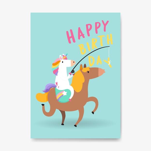Vettore di carta di unicorno di buon compleanno Vettore gratuito