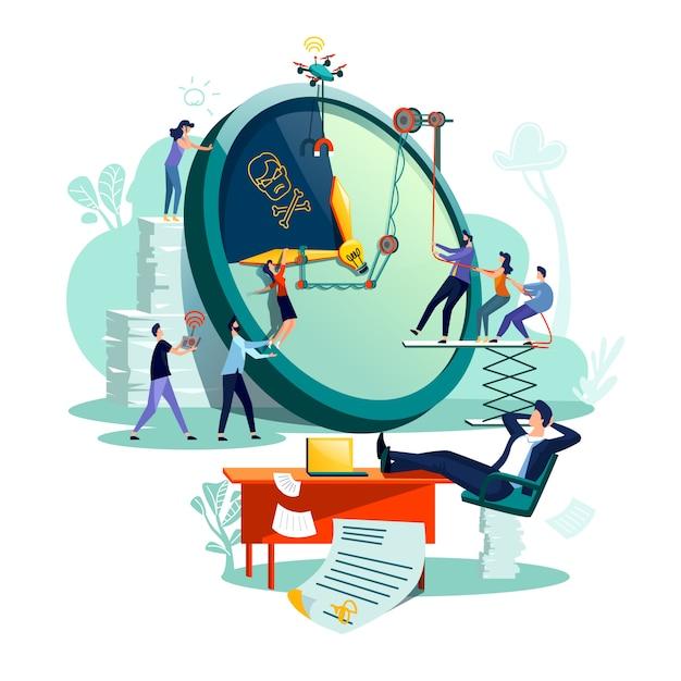 Vettore di concetto di affari di gestione di tempo di termine. Vettore gratuito