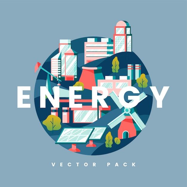 Vettore di concetto di energia in blu Vettore gratuito