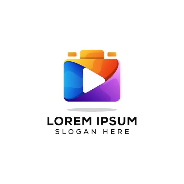 Vettore di concetto di logo della fotocamera multimediale Vettore Premium
