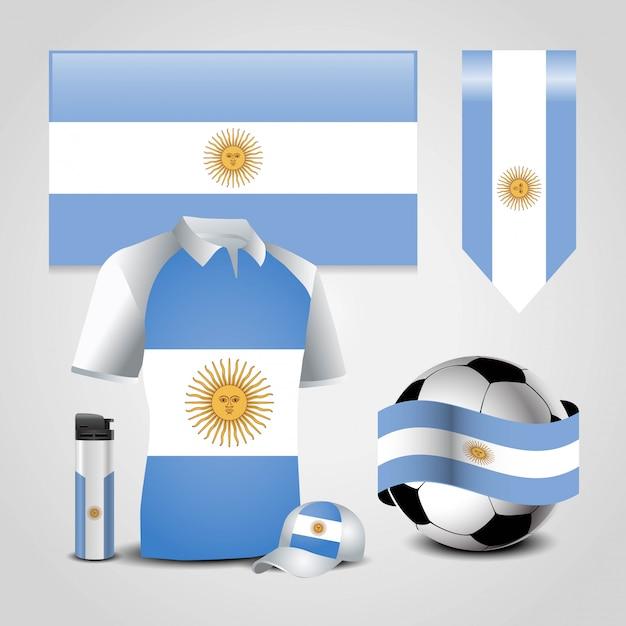 Vettore di disegno della bandierina dell'argentina Vettore Premium