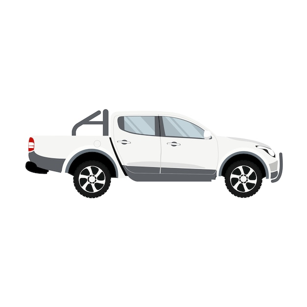 Vettore di disegno della cabina doppia di colore bianco del camioncino Vettore Premium