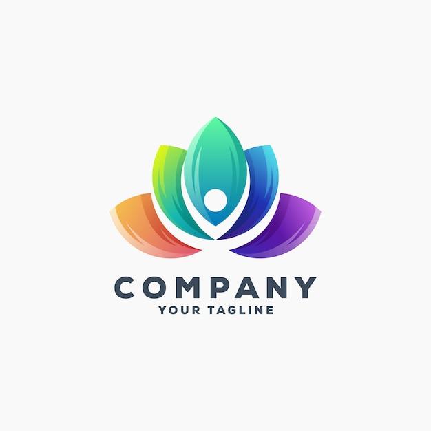 Vettore di disegno di logo del loto impressionante Vettore Premium