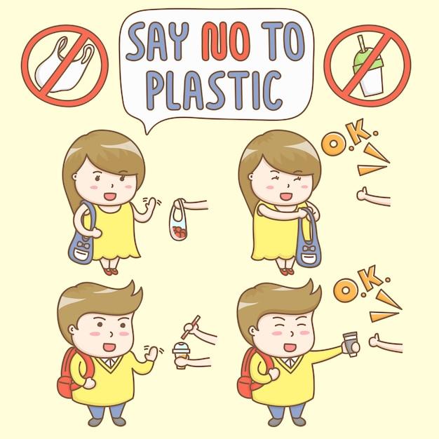 Vettore di elementi di design di simpatici personaggi dei cartoni animati si rifiutano di utilizzare il contenitore di plastica. Vettore Premium