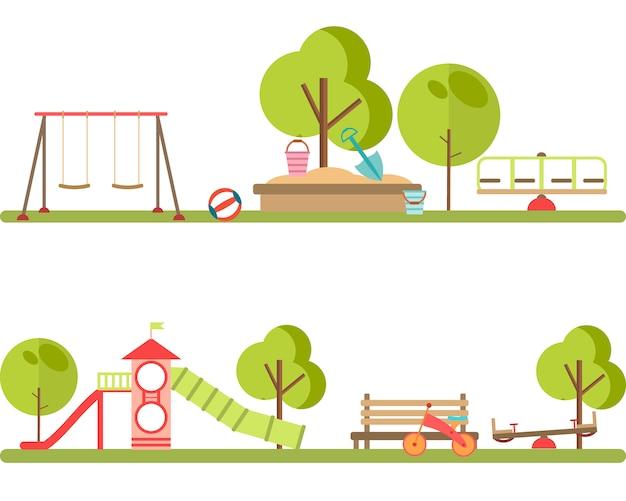 Vettore di elementi infographic di parco giochi. Vettore Premium