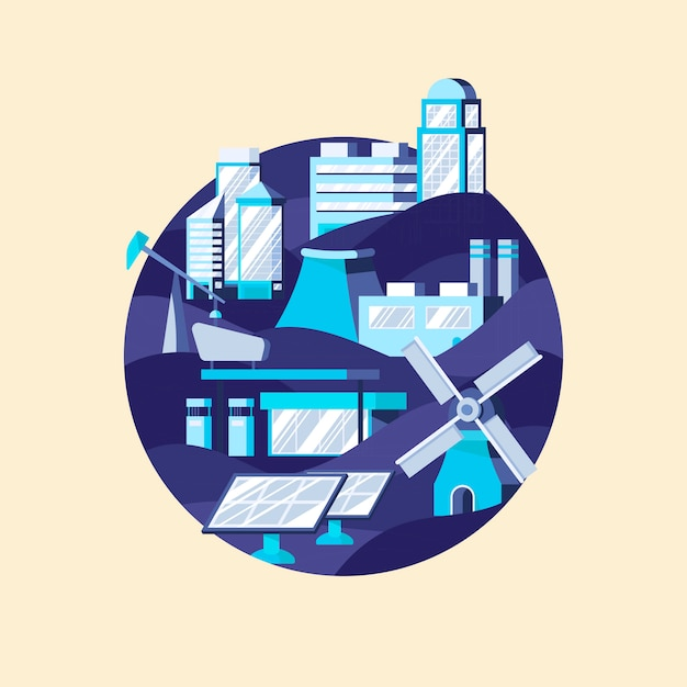 Vettore di energia alternativa in blu Vettore gratuito