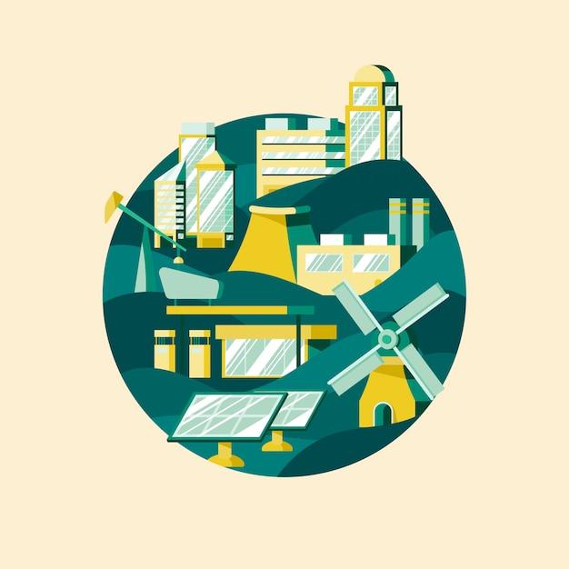 Vettore di energia alternativa in verde Vettore gratuito
