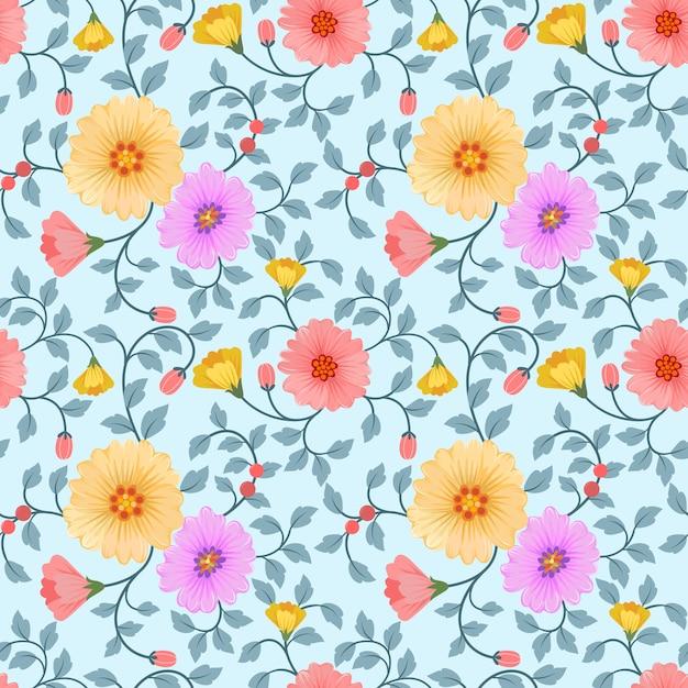 Vettore di fiori colorati senza soluzione di continuità per stampe moda, confezionamento, tessile, carta, carta da parati. Vettore Premium
