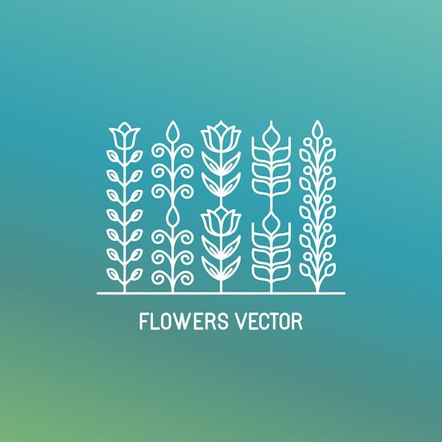 Vettore di fiori, lineart Vettore Premium