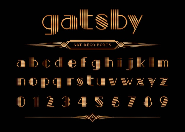 Vettore di gatsby font e numero Vettore Premium