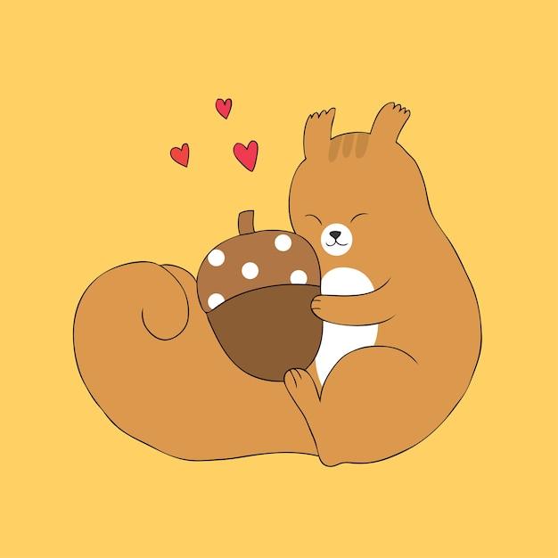 Vettore di ghianda carino abbraccio scoiattolo autunno cartone