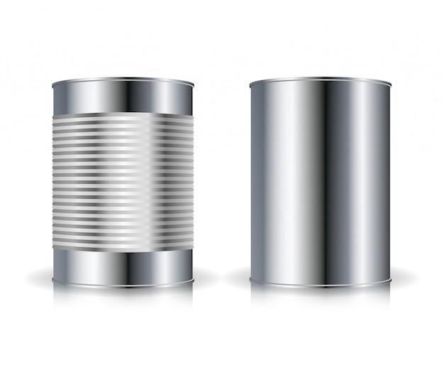 Vettore di lattine metalliche. set set di barattoli di metallo Vettore Premium