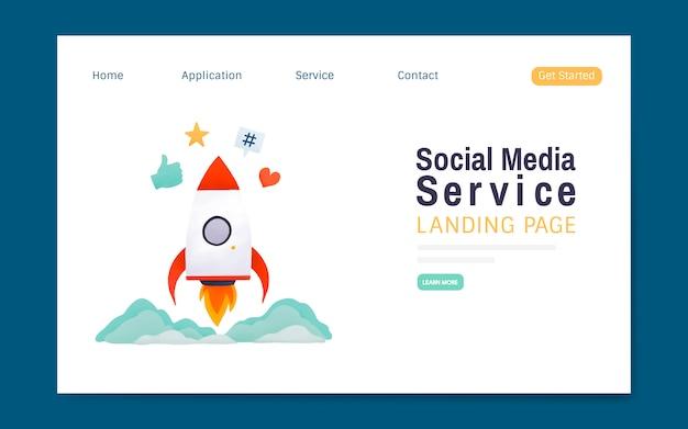 Vettore di layout di pagina di destinazione del servizio di media sociali Vettore gratuito