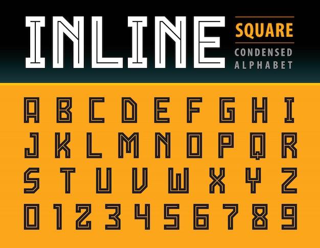 Vettore di lettere di alfabeto quadrato moderno, tecnologia di carattere geometrico, sport Vettore Premium