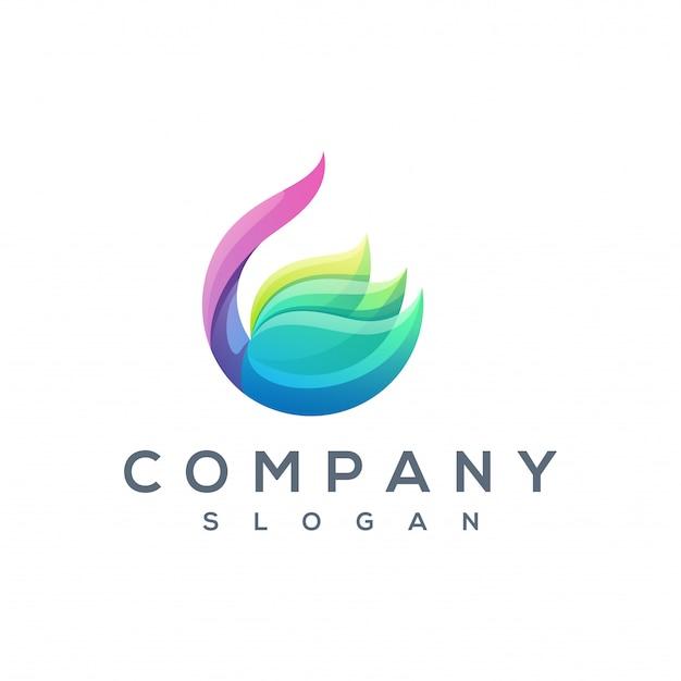 Vettore di logo colorato loto Vettore Premium