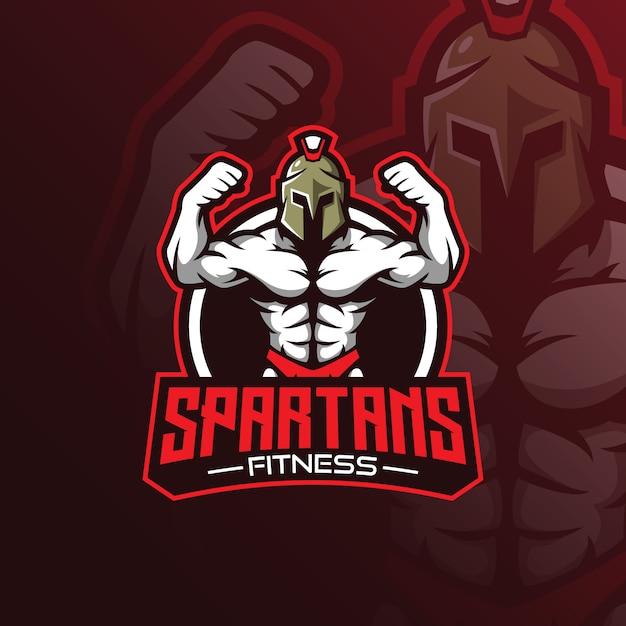 Vettore di logo della mascotte di fitness con stile moderno concetto illustrazione per stampa distintivo, emblema e tshirt. Vettore Premium