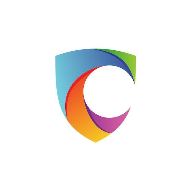 Vettore di logo dello scudo della lettera c Vettore Premium