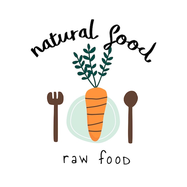 Vettore di logo di cibo crudo naturale Vettore gratuito