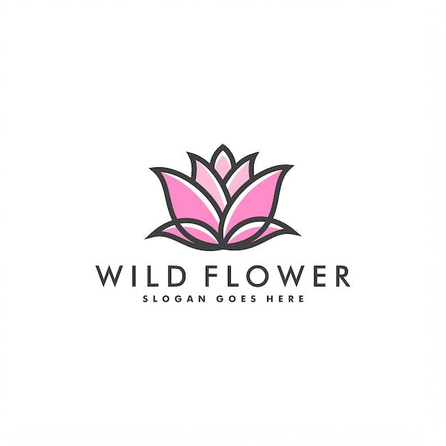 Vettore di logo di progettazione del modello di logo del fiore Vettore Premium