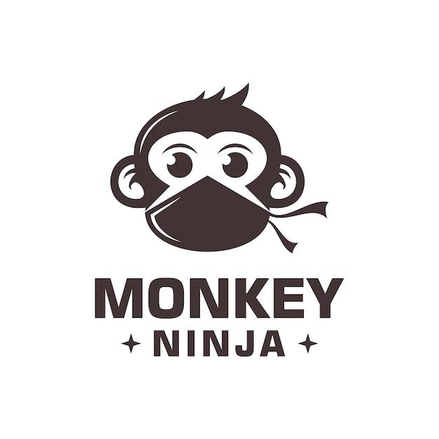 Vettore di logo di scimmia ninja Vettore Premium