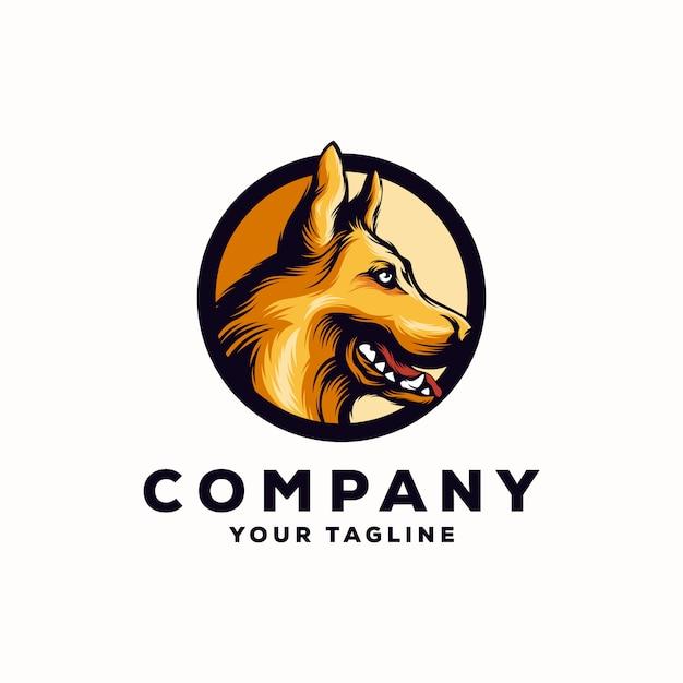 Vettore di logo herder cane impressionante Vettore Premium