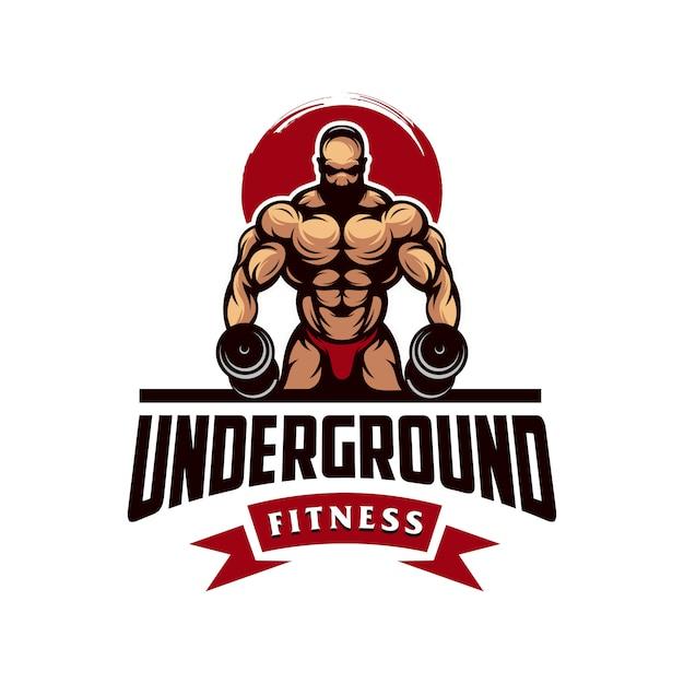 Vettore di logo muscolo palestra impressionante Vettore Premium