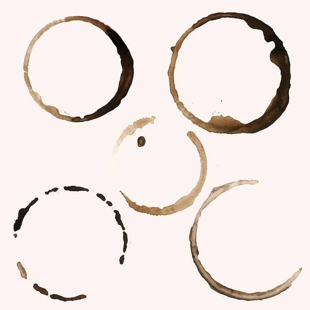 Vettore di macchie di cinque anelli di caffè Vettore gratuito