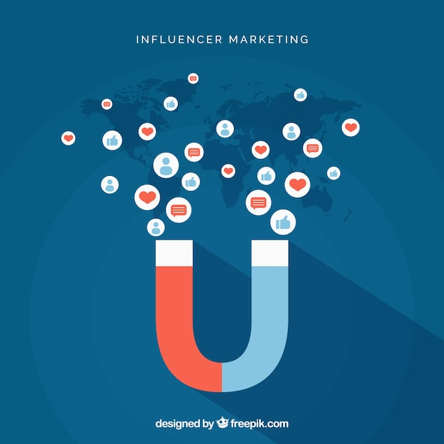 Vettore di marketing influenzatore con magnete Vettore gratuito