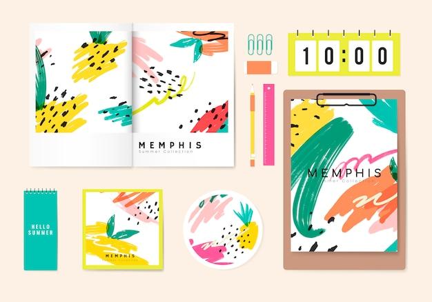 Vettore di memphis design stationery summer Vettore gratuito