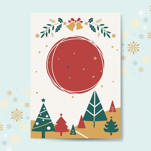 Vettore di mockup di cartolina d'auguri di Natale Vettore gratuito