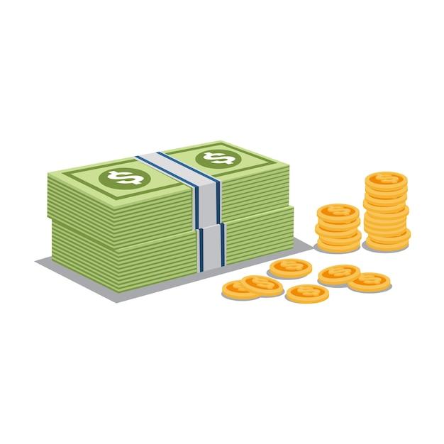 Vettore di monete d'oro e denaro Vettore Premium