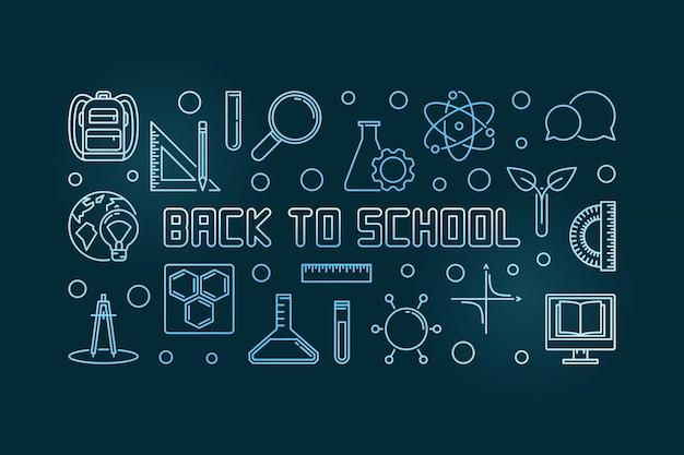 Vettore di nuovo all'illustrazione lineare di concetto blu della scuola Vettore Premium