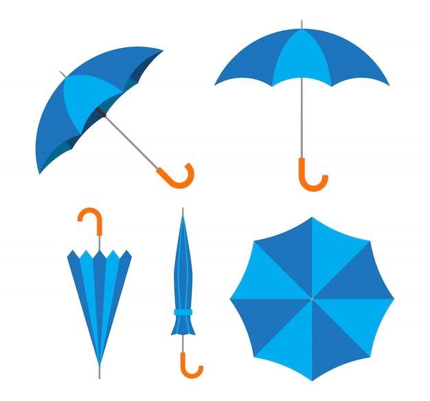 Vettore di ombrello blu impostato su sfondo bianco Vettore Premium