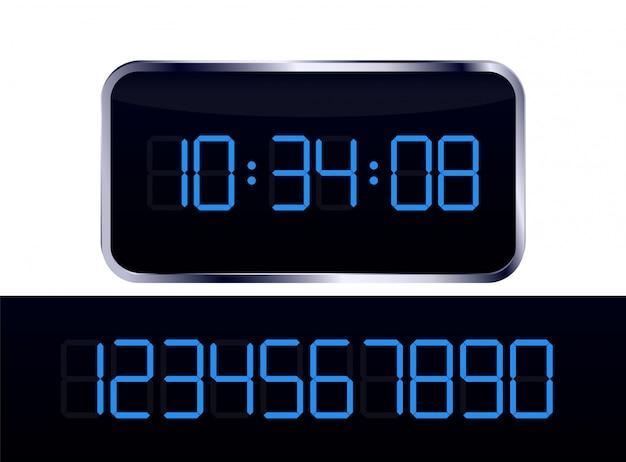 Vettore di orologio digitale blu e numero impostato Vettore Premium