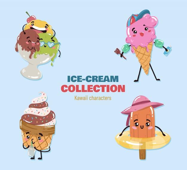 Vettore di personaggi di gelato kawaii Vettore gratuito