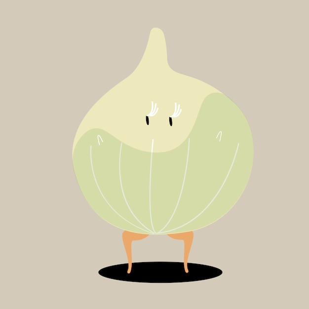 Vettore di personaggio dei cartoni animati di cipolla biologica Vettore gratuito