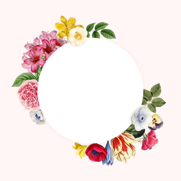 Vettore di progettazione cornice floreale bianco Vettore gratuito