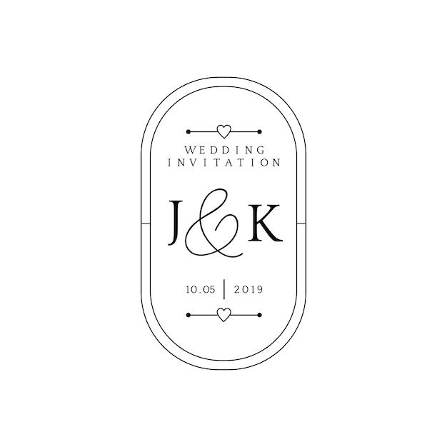 Vettore di progettazione del distintivo dell'invito di nozze Vettore gratuito