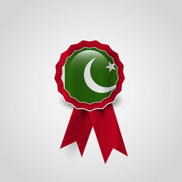 Vettore di progettazione del distintivo della bandiera del pakistan Vettore gratuito