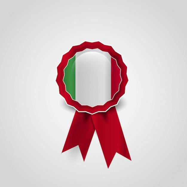 Vettore di progettazione del distintivo della bandiera dell'italia Vettore Premium