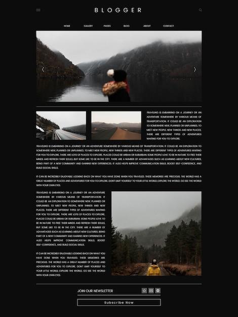 Vettore di progettazione del modello della prima pagina del blog di viaggio Vettore gratuito