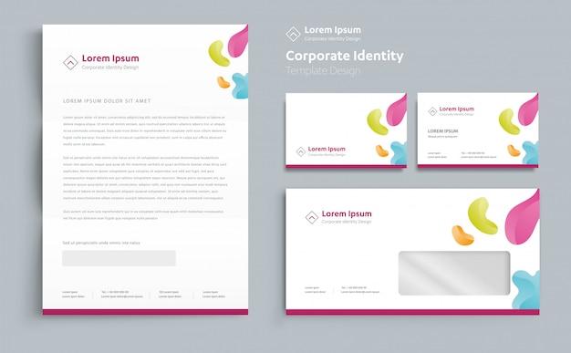 Vettore di progettazione del modello di identità di affari corporativi Vettore Premium