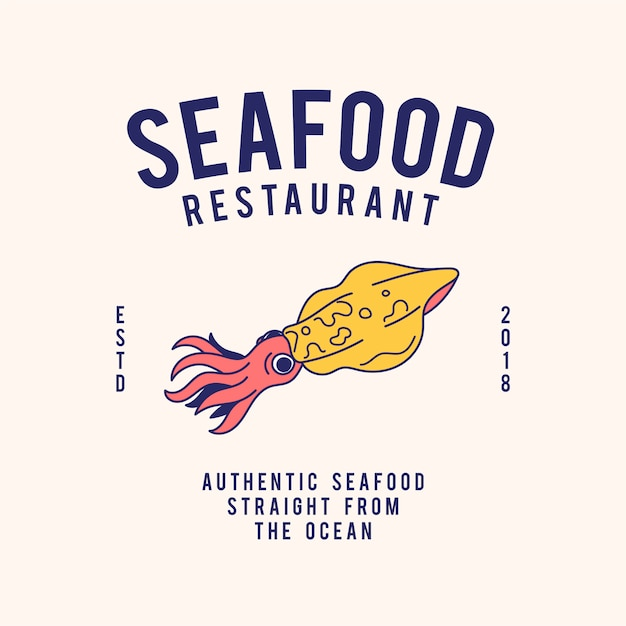 Vettore di progettazione del testo del ristorante di frutti di mare Vettore gratuito