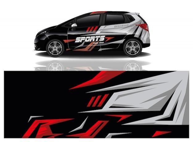 Vettore di progettazione dell'involucro della decalcomania dell'automobile sportiva Vettore Premium