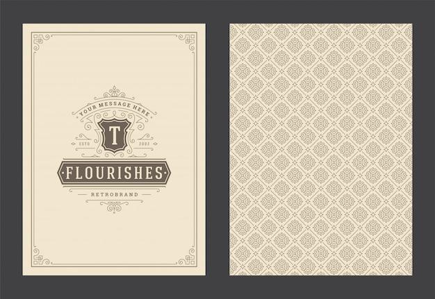 Vettore di progettazione della struttura di turbinii e vignette decorati calligrafici della cartolina d'auguri d'annata dell'ornamento Vettore Premium