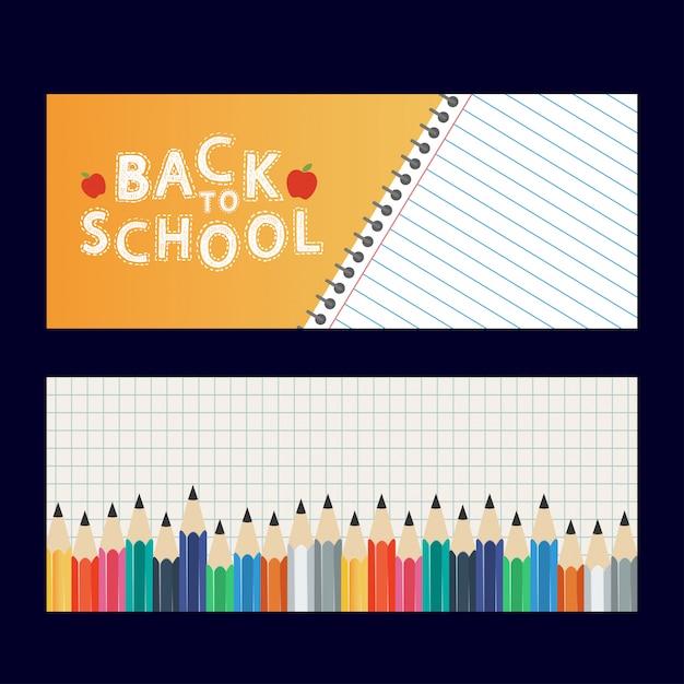 Vettore di progettazione di brochure di ritorno a scuola Vettore Premium